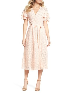 Lace Ruffle Mock Wrap Dress by Taylor Dresses
