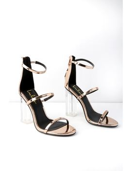 Isabella Rose Gold Lucite Heels by Lulus