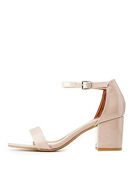 Bamboo Patent Two Piece Dress Sandals by Charlotte Russe