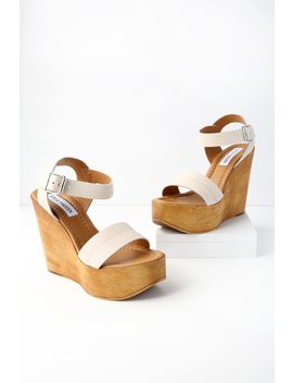 Belma Off White Leather Wedge Sandals by Steve Madden