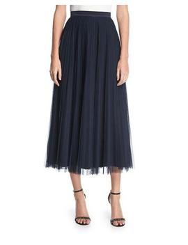 Bianca Pleated Tulle Midi Skirt by Lafayette 148 New York