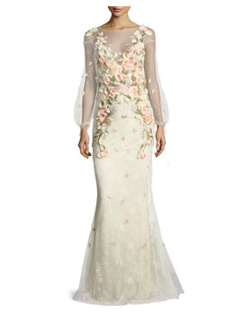 Bishop Sleeve Lace Evening Gown W/ Floral Appliques by Neiman Marcus