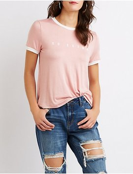 So Extra Graphic Ringer Tee by Charlotte Russe