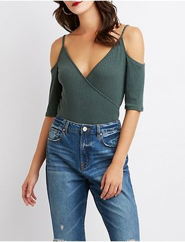Ribbed Cold Shoulder Surplice Top by Charlotte Russe