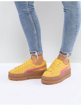 Puma X Fenty Suede Creepers In Yellow & Pink by Puma
