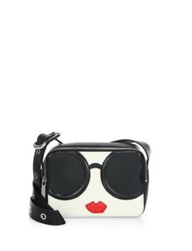 Stace Face Leather Mini Crossbody Bag by Alice + Olivia