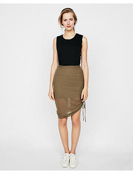 Ribbed Side Ruched Mini Skirt by Express