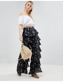 Glamorous Tiered Floral Print Pants by Glamorous