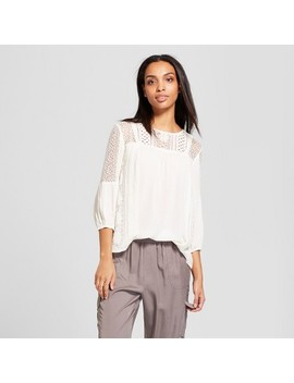 Women's 3/4 Sleeve Open Lace Knit To Woven Top   Knox Rose™ White by Knox Rose™