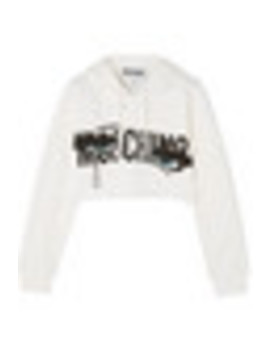 Cropped Printed Stretch Cotton Jersey Hooded Top by Moschino