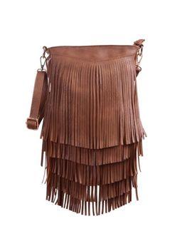 Leather Fringe Shoulder Bag Crossbody Tassel Handbag Women's Purse by Hde