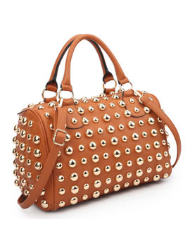 New Womens Handbags Leather Bling Studded Satchel Tote Shoulder Bag Medium Purse by Dasein