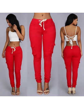 Women Pocket Sports Pencil Pants Slim Fit Jogger Sweatpants Slim Casual Trousers by Unbranded
