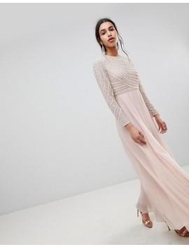 Asos Design Premium Pearl Embellished Long Sleeve Maxi Dress by Asos Design