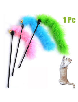 New Cat Kitten Pet Teaser Turkey Feather Interactive Fun Toy Wire Chaser Wand by Unbranded