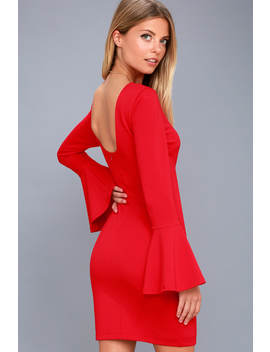 Flare To Spare Red Flounce Sleeve Bodycon Dress by Lulus