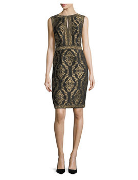 Sleeveless Baroque Jacquard Cocktail Dress by Tadashi Shoji