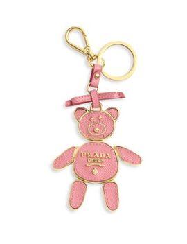 Saffiano Leather Bear Keychain by Prada