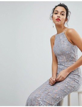 Jarlo All Over Lace Off High Neck Maxi Dress by Jarlo