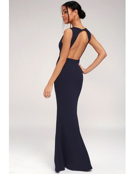 Mine Navy Blue Backless Maxi Dress by Lulus
