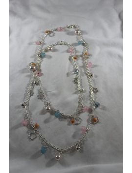 "36"" Long Fancy Charm Pastel Beads Assorted Chain Links Silver Metal Necklace New by Unbranded"