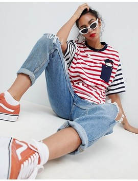 Hello Kitty X Asos Oversized T Shirt With Peeping Embroidered Motif by Asos Design