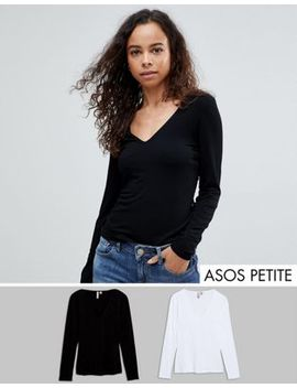 Asos Petite Ultimate Top With Long Sleeve And V Neck 2 Pack Save 15 Percents by Asos Petite