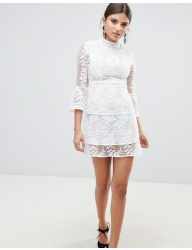 Boohoo Embroidered Mesh Tiered Lace Dress by Boohoo