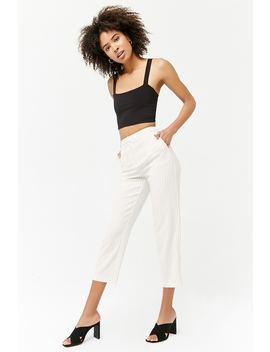 Stitch Striped High Waist Trousers by Forever 21