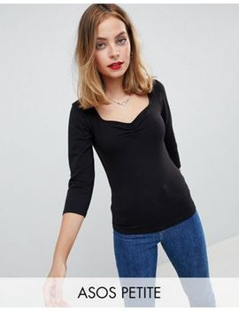 Asos Design Petite Top With 3/4 Sleeves And Sweetheart Neck by Asos Design