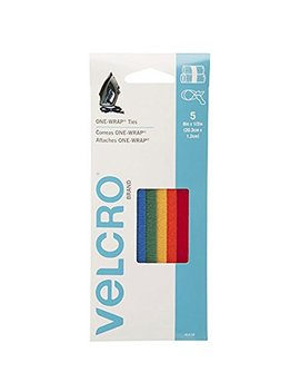 "Velcro Brand   One Wrap Cable Management, Self Gripping Cable Ties, Reusable, 8"" X 1/2"" Ties, 5 Ct.   Multi Color by Velcro Brand"