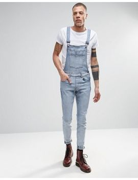Dr Denim Ira Skinny Overall Jeans In Blue Stone Light Wash by Dr Denim