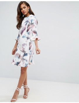 Little Mistress Tall All Over Printed Fluted Skater Dress by Little Mistress Tall