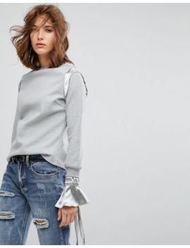 Lost Ink Sweatshirt With Constrast Satin Cuffs And Trim by Lost Ink.