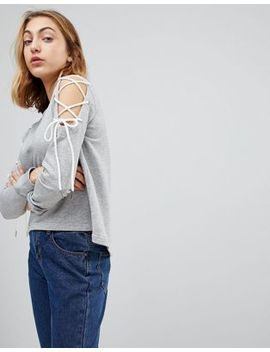 Walter Baker Kennedy Lace Up Cold Shoulder Sweatshirt by Top