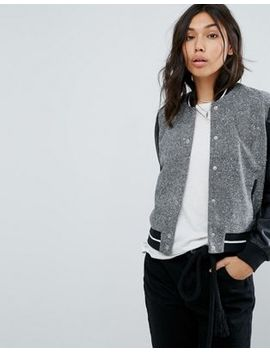 Abercrombie & Fitch Contrast Sleeve Varsity Bomber by Abercrombie & Fitch