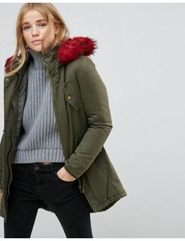 Brave Soul Parka Coat With Faux Fur Trim by Coat