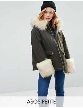 Asos Petite Parka With Faux Fur Collar And Cuff by Asos Petite