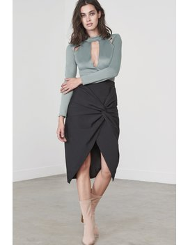 Twist Front Skirt In Black by Lavish Alice