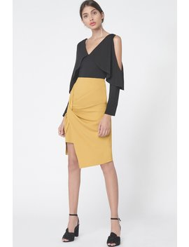 Twist Front Mini Skirt In Olive Yellow by Lavish Alice