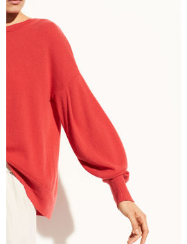 Pleated Sleeve Cashmere Crew by Vince