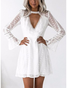 White Plunge Lace Panel Polka Dot Flare Sleeve Mini Dress by Choies