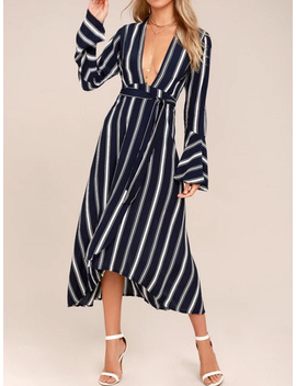 Monochrome Stripe Plunge Tie Waist Flare Sleeve Midi Dress by Choies