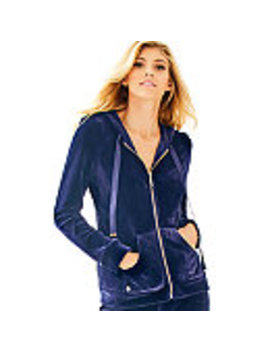 Larina Solid Velour Zip Up Hoodie by Lilly Pulitzer