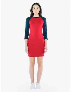 Ponte 3/4 Sleeve Raglan Dress by American Apparel