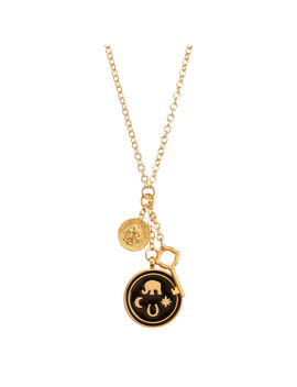 """Large Elephant Enamel Black Talisman Cluster, 32"""" Gold Dipped, Necklace by Dogeared"""