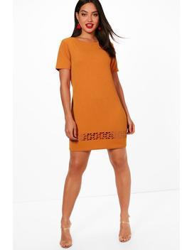 dalia-laser-cut-shift-dress by boohoo