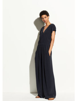 Flutter Cap Sleeve Silk Jumpsuit by Vince