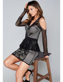 Mix Lace Peplum Dress by Bebe