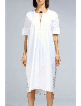 Zippered Printed Loose Dress by Dezzal